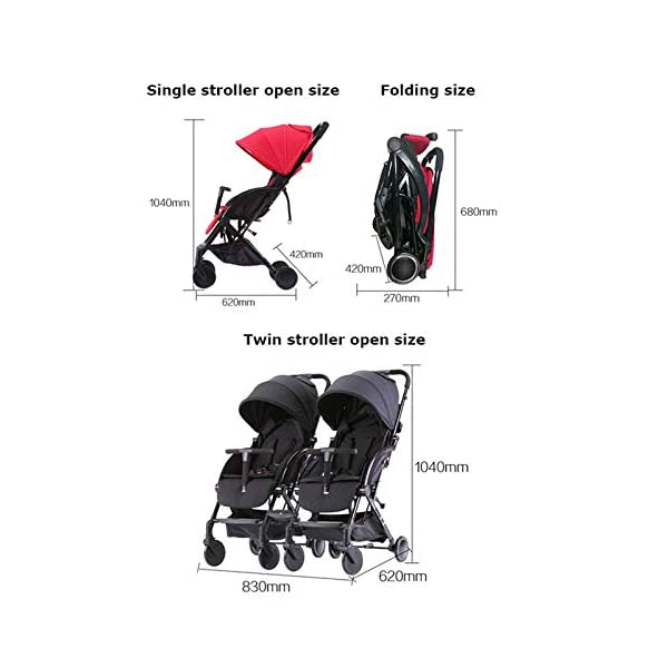JXCC Double Strollers Baby Pram Tandem Buggy Newborn Pushchair with Adjustable Backrest- Black/Red -Safe And Stylish A JXCC 1. {Multi-angle adjustable}: You can sit down and adjust the angle from 0 to 175 degrees for all occasions. 2. {Light capsule car, detachable and separate}: Only 5.9kg, diamond car, can be on the plane, comfort zone baby, can be a single cart or can be combined into two cars 3. {Two-way implementation}: - Two-way implementation, switching parent-child mode 5