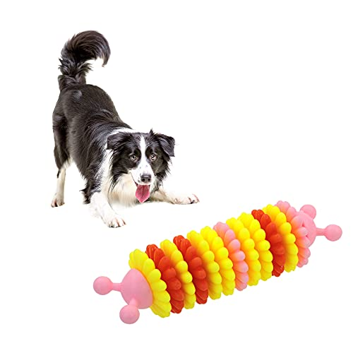 WishLotus Dog Chew Toy Dog Toy for Teeth Cleaning, Bite-Resistant Durable Dog Toys Soft Rubber for Dog/Cat Teeth Massage IQ Training Interactive Playing (Pink)
