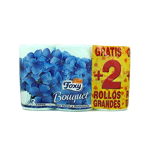Foxy - Bouquet - Papel higiénico - 6 rollos (AZUL)