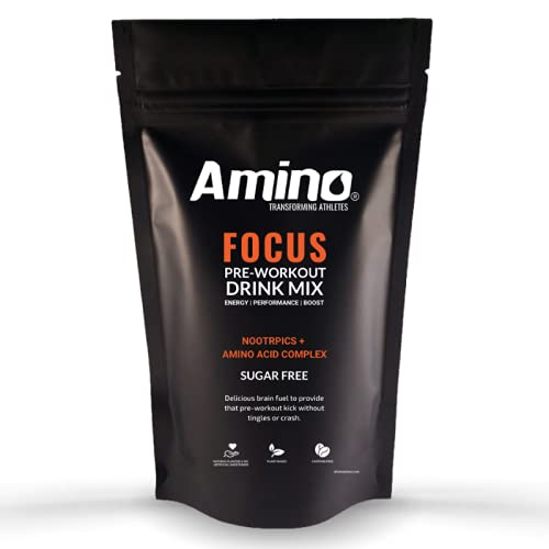 Amino Focus - Pre-Workout Amino Energy Drink - 5000mg Nootropics with Caffeine, Alpha-GPC & Amino Acids - Zero Sugar (Watermelon, 22 Servings)