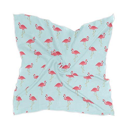 XiangHeFu Schieren vrouwen Flamingo vogel patroon chiffon dunne zakdoek zijden sjaal hoofddeksel