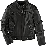 Urban Republic Girls' Metallic Moto Faux Leather Jacket (Basil Green/Ruffle, 10/12)