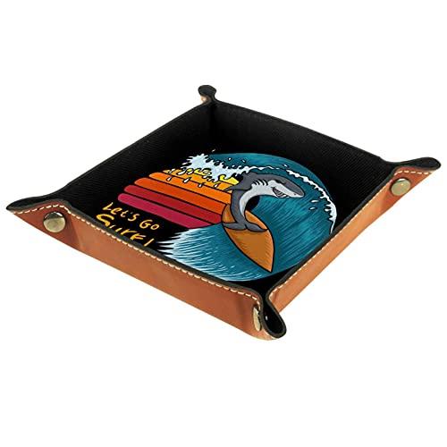 Bandeja de Juegos de Dados rodantes Plegable Bandejas de joyería cuadradas de Cuero y Reloj, Llave, Moneda, Caja de Almacenamiento de Dulces Shark Surfing Sunset