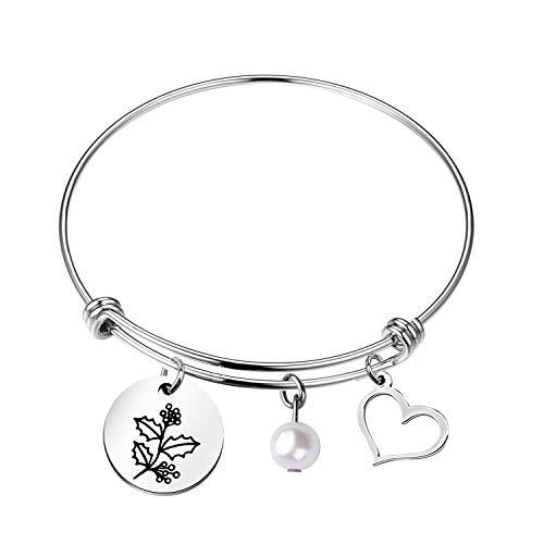Ensianth Bracelet de naissance Fleur du mois Cadeau d'anniversaire pour elle