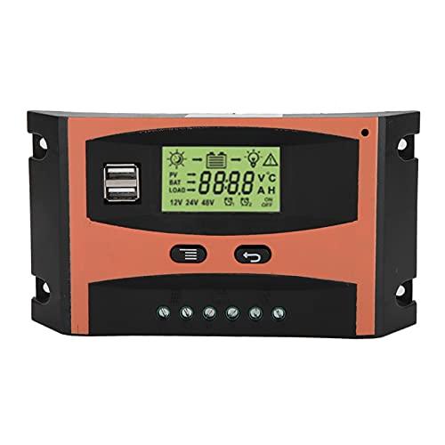SHYEKYO Controlador de Carga Solar Mppt, Panel Solar de Calidad Militar de 12/24 V, Pantalla Grande LED Transparente + Placa de Circuito PCB antienvejecimiento(30 A, 40 A, 50 A, 60 A)(60A)