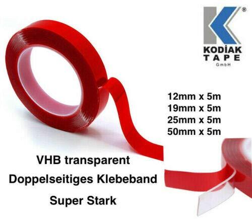 VHB TRANSPARENT 19mm x 5m Klebeband Doppelseitiges Extra Stark Montageband Foam Tape (1,39 Euro/m)