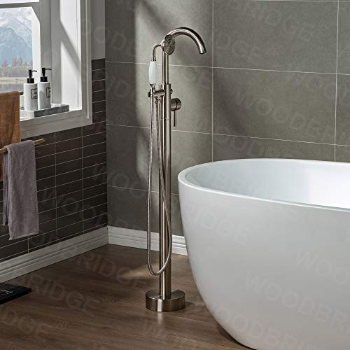 WOODBRIDGE Contemporary Single Handle Floor Mount Freestanding Tub Filler Faucet with Hand Shower in Brushed Nickel Finish, F0001-BNVT