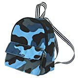 18 Inch Doll Backpack, Boy Doll-Sized Blue Camouflage, Zipper Opening School Bag for 18 Dolls
