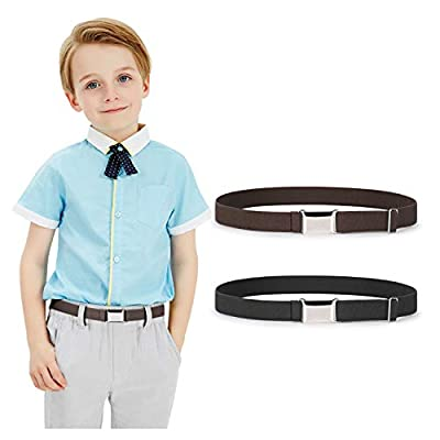 Kids Toddler Belt Elastic Stretch Adjustable Belt for Boys and Girls with Silver Square Buckle 2 Pack by JASGOOD, Black and Coffee,Pants Size below 26 Inch
