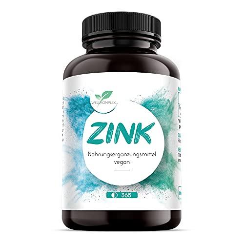 WELLKOMPLEX Premium Zink Tabletten – 6,5mg pro Tagesdosis – 365 Zinktabletten Jahresvorrat – 100{82664ece301ae44bfb421334f7060264024f04e484e644a1b4550ff5cacc23c1} natürlich – Zink Bisglycinat – Vegan & laborgeprüft – Zink hochdosiert