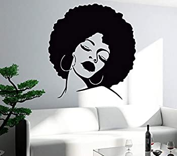 DXLING Fashion Black Lady Wall Stickers Vinyl Wall Decal Large Wall Sticker Hot Sexy Hair Spa Salon DIY Self-Adhesive Wallpaper SA214  Black