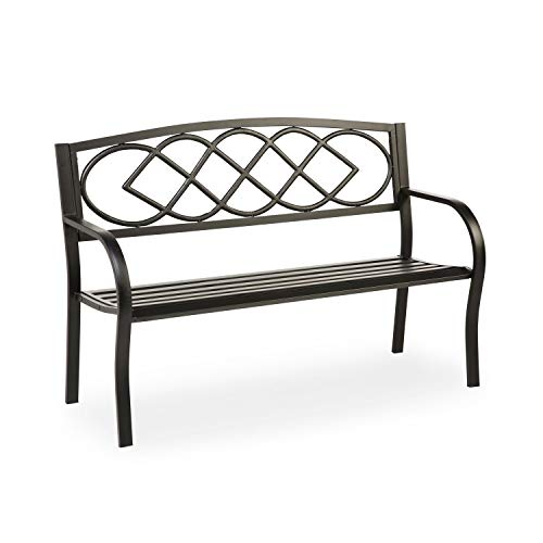 Celtic Knot Garden Bench Black Aluminum Backed