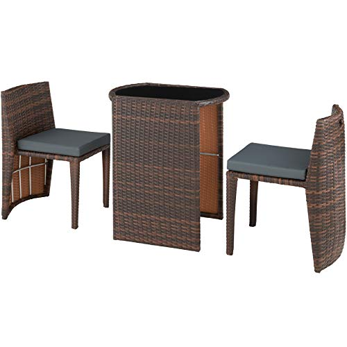 TecTake 800692 Rattan Set Bistro 3 PCs, 2 Chairs + 1 Table, Weatherproof, Collapsible, incl.Seat Cushions, Garden Outdoor Terrace (Black - Brown | No. 403143)