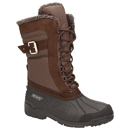 BOWS® -SUSI- Winterstiefel Damen Schnee Stiefel Snow Schuhe Winterboots warm gefüttert wasserdicht wasserabweisend, Schuhgröße:36, Farbe:braun
