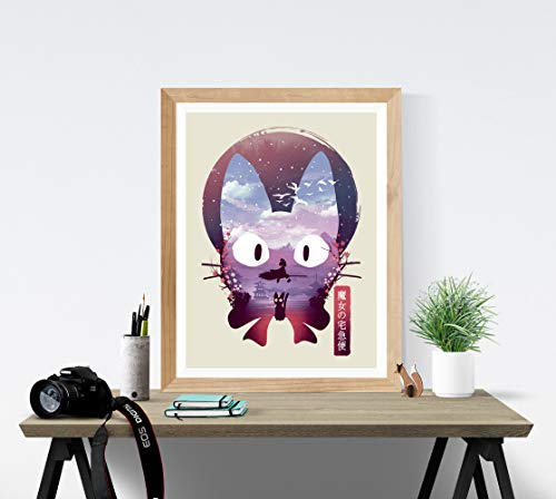 Kiki's Delivery Service Art Print - Studio Ghibli Wall Art 18 x 24 Unframed Japanese Anime Artwork Haku Dragon Print Hayao Miyazaki Wall Hanging Cool Movie Home Decor, Jiji Black Cat Artwork