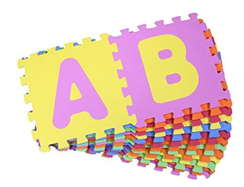 Alfombra Puzzle,losetas Puzzle Infantil,26 Piezas,Alfombra para niños,26 Letras Alfabeto Goma Espuma,Impermeable,30x30x1cm (26 Letras)