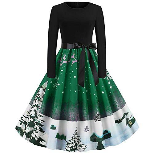 KHJH Trajes De Pap Noel,Disfraces De Navidad para Mujeres Adultas Bosque De Nieve Verde Mangas Largas Sexy Vestido De Cosplay De Pap Noel para Disfraces Fiesta De Disfraces, XL