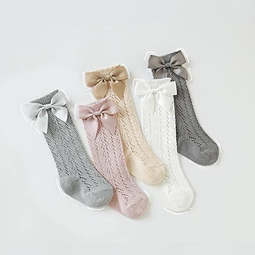 SENFEISM 5PCS / Set de Calcetines para niñas, Calcetines de Malla Delgada para niños, Calcetines Baby Princess, algodón Transpirable 0~5 años de Edad 1-3years(M) randomcolor