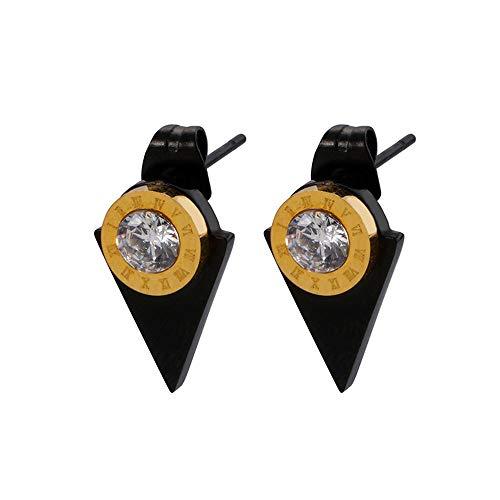 Pendientes triangulares de dama de temperamento de estilo coreano, círculo personalizado, números romanos, pendientes de diamantes, oro de 1,3 * 0,9 cm