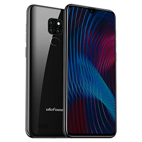 Ulefone Note 7P Smartphone (32GB interner Speicher + 3GB RAM, 15,49cm (6,1 Zoll) Display, 8MP+2MP+2MP Rückkamera, Dual-SIM LTE, Android 9, Fingerabdrucksensor, OTG) - Schwarz