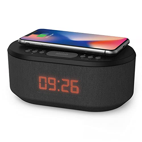 i-box Bedside Wireless Charging Alarm Clock Radio with Dimmable LED Display - Non Ticking Mains Powered Dual Alarm Clock with USB Charger and Bluetooth Speaker, Black