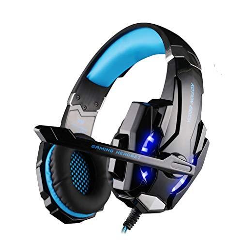 Sayla Gaming Headset für PS4, 3.5mm Surround Sound Gaming Kopfhörer mit Omnidirektional Lärmminderung Mikrofon, LED-Licht, Kopfhörer für Computer/Tablet/Laptop/Mobile (Blau)