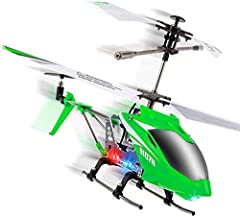 HELICOPTER TOY WITH REMOTE CONTROL: The S107H remote control toy is built with a metal body, flexible blades, and flies in two speeds; 2.4 GHz remote control flies this RC toy in a 65-foot range STEADY FLYER RC HELICOPTER: Flybar is positioned lower ...