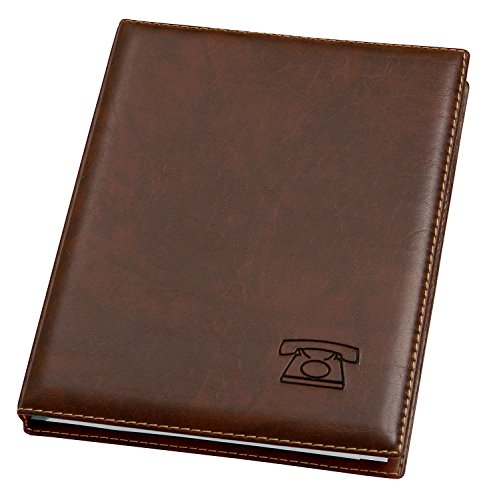 Veloflex 5158760 Telefonringbuch, hochwertige Weichfolie, mit 12-tlg. Register A-Z, 4-Ringe, Adressbuch, braun