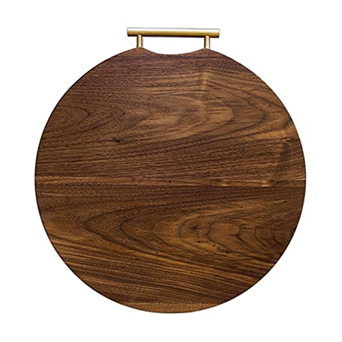 Heizung Black Walnut Cutting Board Round Square Thick Butcher Chopping Board with Brass Handle for Cutting Meat Vegetables Fruits and Cheese (Size : Round)