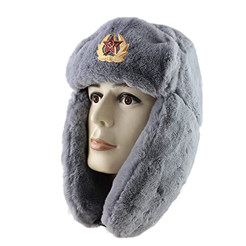 LIUZIXI Rusia Ushanka Bomber Hat - Hombre Mujer Pilot Trapper Trooper Hat - Invierno Faux Fur Earflap Warm Soviet Badge Deportes Al Aire Libre Snow Ski Gorra, Gris, Talla Única
