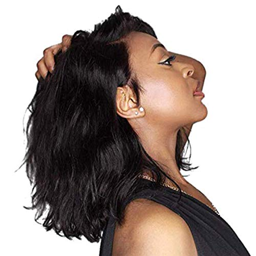 YOUGM Hair 13×4 Wavy Short Wigs for Black Women 150% Density Bob Lace Front Wigs Human Hair Glueless Virgin Hair With Baby Hair Pre Plucked and Bleached Konts