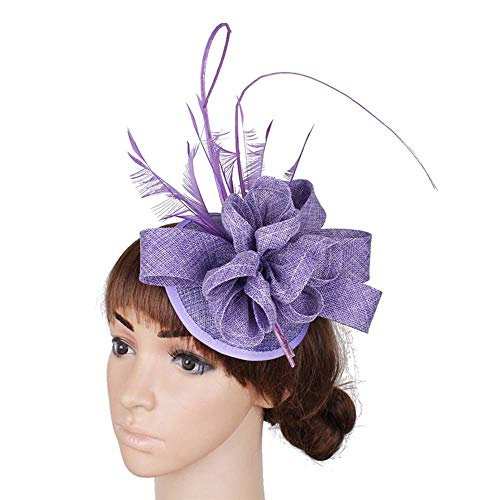 FHKGCD Encantador Sombrero De Boda De Plumas para Niñas, Diseño De Tocado De Imitación De Sinamay con Tocado De Forma Especial, Morado Claro,