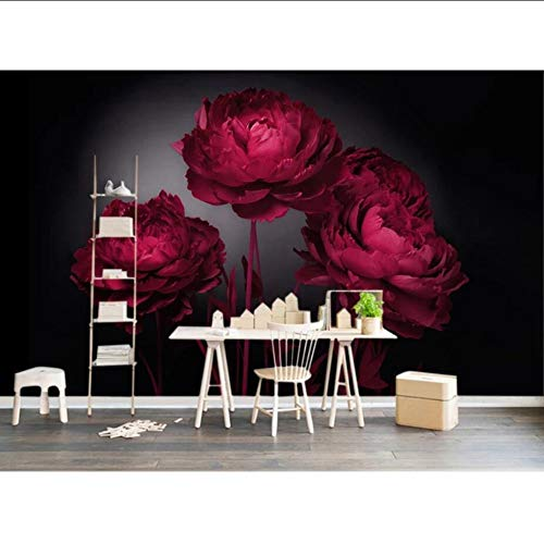 Cczxfcc 3D moderne bloem roos behang wandbehang romantische kunst wandsticker voor bruiloft slaapkamer Hd bloemenprint rol behang 250 x 175 cm.