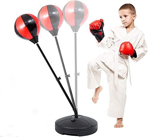 Cikonielf Boxsack-Set für Kinder mit Punchingball und Handschuhen, Set aus Pugilat für Kinder vertikale Bodenplatte für Erwachsene und Jugendliche verstellbare Höhe 70-105 cm