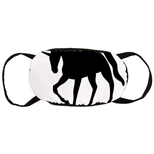 Stofvervuilingsmasker, zwart paard eenhoorn witte achtergrond, zwart oor puur katoen masker, Geschikt voor mannen en vrouwen maskers
