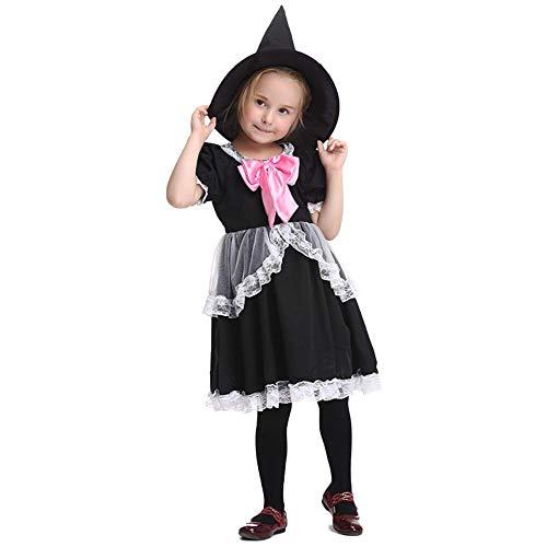 Disfraz de Princesa de Cuento de Hadas para Halloween, Disfraz para nios, Falda de Encaje, Vestido de Baile, Manga de Tul, con un Sombrero de Bruja de 4-10 aos de Edad. Negro S