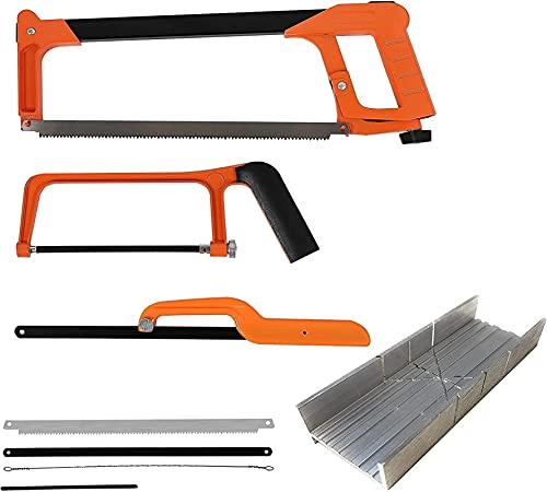 Aoheuo Juego de sierras para metales, con mini sierra para metales, con 3 hojas de sierra reemplazables, sierra de mano para aserrar metal, madera, tubo de PVC