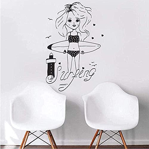 Pegatina De Vinilo Para Pared, Pegatina Creativa Para Chica Linda, Tabla De Surf, Faro, Estilo De Playa, Sala De Estar, 55 × 86 Cm