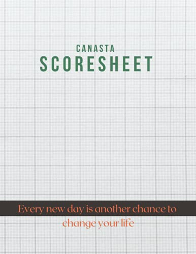 Canasta Score Sheet, White paper with grid line pattern background close up cover, 100 pages - Large(8.5 x 11 inches)