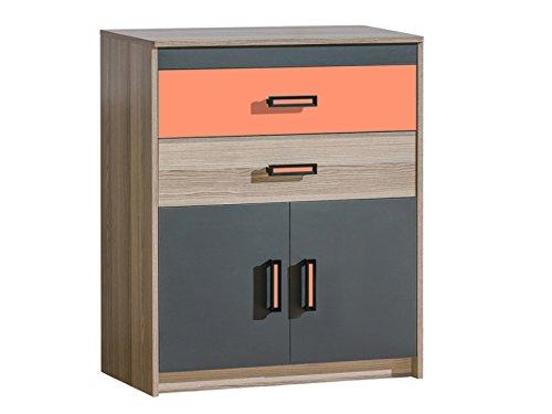 SMARTBett GmbH Commode Timo met twee deuren en twee laden essenhout donker/oranje dressoir highboard commode voordelig slaapkamer commode