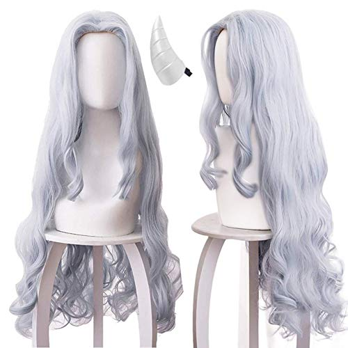IMEYLE Wig(1 Horn Clip)Grayish-Blue Anime Cosplay Hair Wig Long Wavy Curly Anime Wigs For Cons And Halloween Costume