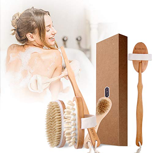 Premium Dry Brushing Body Brush Set - Dry brush for cellulite and lymphatic, Natural Boar Bristles & Long Handle Back Scrubber, Bath & Shower Brush, Face Exfoliating, SPA Massage kit, for A Glowing