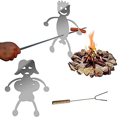 Bililhon Steel Hot Dog / Marshmallow Roasters , Donne Da Donna A Forma Di Acciaio Inox Acciaio Inox Antincendio Fuoco Arrostito Bastone , Hot Dog Book Roaster Fornello Sporco