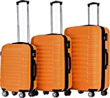 BEIBYE Hartschalen Koffer Trolley Rollkoffer Reisekoffer Zwillingsrollen Kofferset (Orangen, Set)