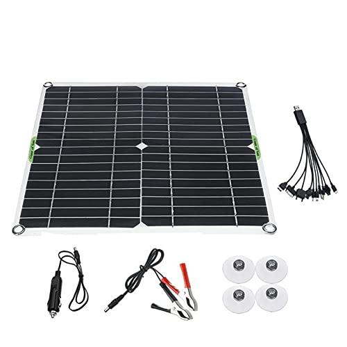 sZeao 80W 5V Panel Solar Monocristalino Célula Placa Solar con Controlador De Carga Solar De 10 A + Cable De Extensión con Clips De Batería para Furgoneta, Caravana, Barco, Cabina
