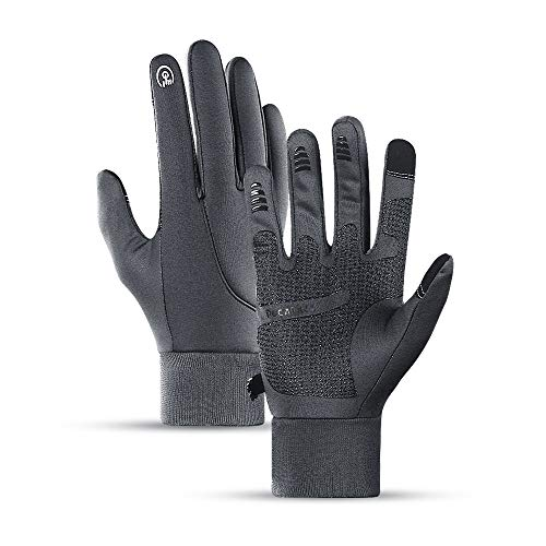 Winter Gloves for Men and Women,Upgraded Touch Screen Anti-Slip Silicone Gel - Elastic Cuff - Add Velvet to Keep Warm - for Cycling Running Outdoor Activities-Gray