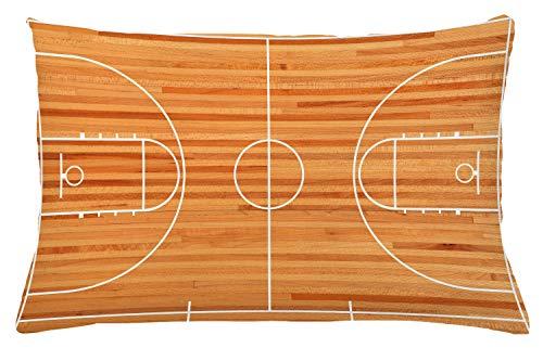 Lunarable Sport-Kissenbezug, Standard-Bodenplan auf Parkett-Hintergrund, Basketballplatz, Spielplatz-Druck, dekorativer rechteckiger Akzent-Kissenbezug, 66 x 40,6 cm, Weiß / Braun