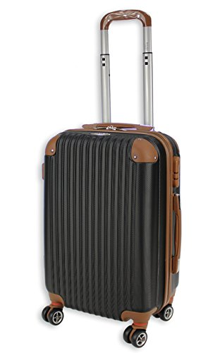 Rocklands Lightweight 4 Wheel ABS Hard Shell Luggage Set Suitcase Cabin Travel Bag ABS 837 (20' Small (Cabin Size), Black)