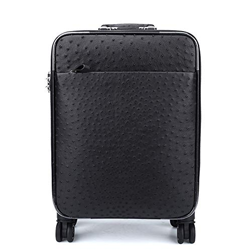 XinMeiMaoYi Outdoor Backpack Ostrich Leather Trolley Case, Black Leather Case, Aviation Boarding Case, Men's Suitcase (35 * 19.5 * 45cm)