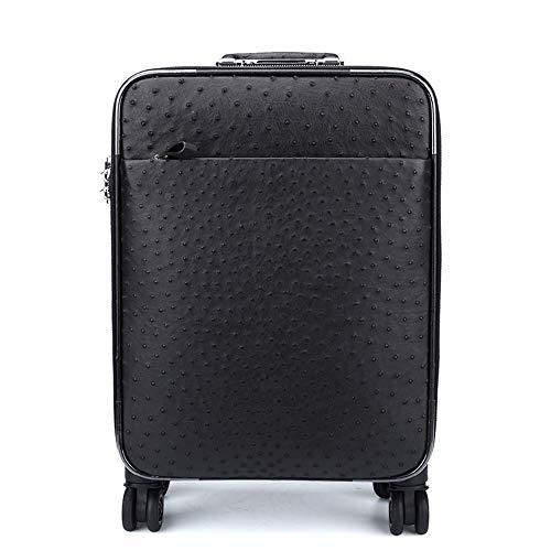 LaLa POP Ostrich Leather Trolley Case, Black Leather Case, Aviation Boarding Case, Men's Suitcase (35 * 19.5 * 45cm)